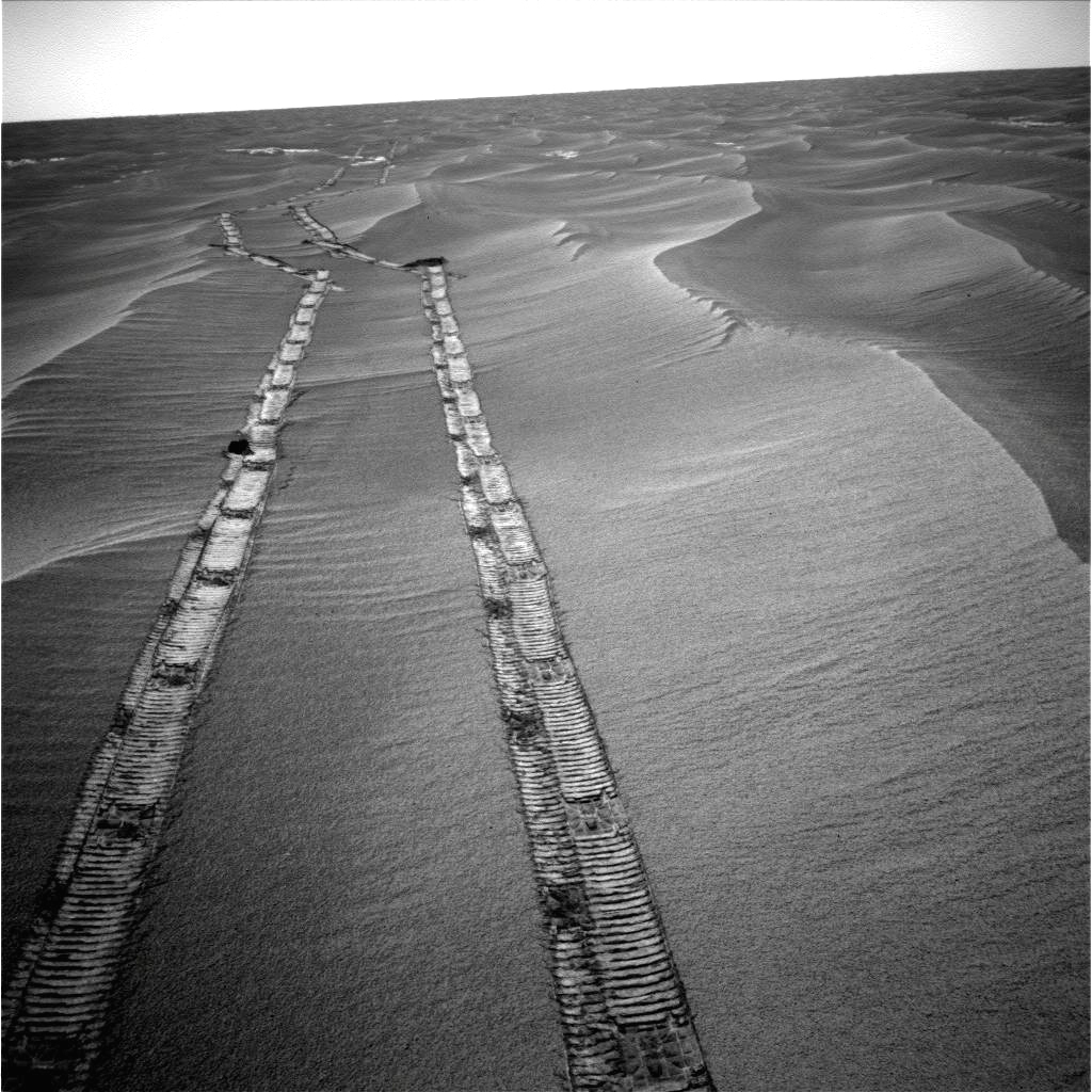 Rover tracks on Mars (future tractor tracks?). Photo: JPL NASA