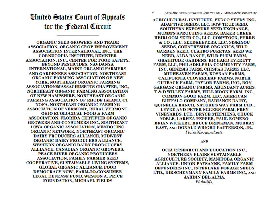 The 2 pages of appellants in the lawsuit in the OSGATA case
